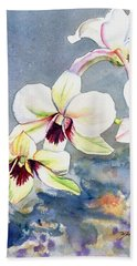 Hand Towel featuring the painting Kauai Orchid Festival by Marionette Taboniar