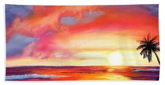 Hand Towel featuring the painting Kauai West Side Sunset by Marionette Taboniar