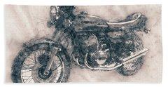 Kawasaki Triple - Kawasaki Motorcycles - 1968 - Motorcycle Poster - Automotive Art Bath Towel