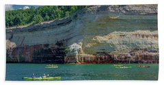 Kayaking The Pictured Rocks Hand Towel