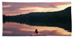 Kayaking Under A Gorgeous Sundown Sky On Concord Pond Bath Towel