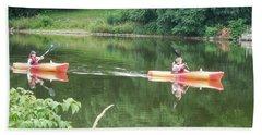 Kayaks On The River Hand Towel