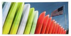 Kayaks With Flag Hand Towel