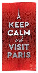 Keep Calm And Visit Paris Opera Garnier Floral Wallpaper Bath Towel