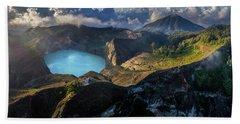 Bath Towel featuring the photograph Kelimutu Volcano Panoramic View by Pradeep Raja PRINTS