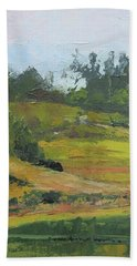 Bath Towel featuring the painting Kenilworth Hills Queensland Australia by Chris Hobel