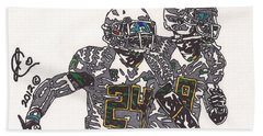 Kenjon Barner And Marcus Mariota Bath Towel by Jeremiah Colley