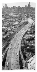 Bath Towel featuring the photograph Kennedy Expressway And Chicago Skyline by Adam Romanowicz