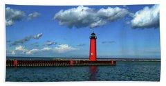Kenosha North Pier Lighthouse Hand Towel by Anthony Dezenzio