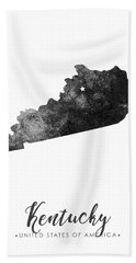 Kentucky State Map Art - Grunge Silhouette Bath Towel