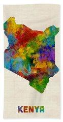 Bath Towel featuring the digital art Kenya Watercolor Map by Michael Tompsett