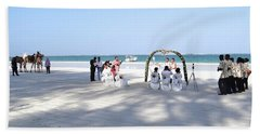 Kenya Wedding On Beach Wide Scene Hand Towel by Exploramum Exploramum