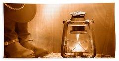 Kerosene Lamp At The Ranch - Sepia Hand Towel
