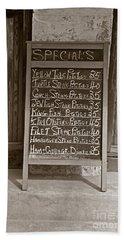 Bath Towel featuring the photograph Key West Depression Era Restaurant Specials by John Stephens