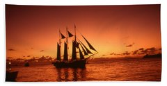 Red Sunset Sky At Key West Florida Hand Towel