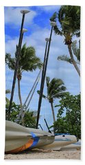Key West - Sailboats On Beach Bath Towel by Ron Grafe
