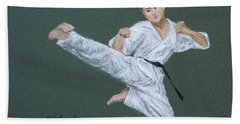 Kick Fighter Hand Towel by Marna Edwards Flavell