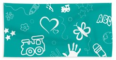 Kid's Playful Background Pattern And Shapes Bath Towel