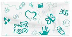 Kids Playful Background Pattern Hand Towel