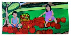Kids Playing And Picking Apples Bath Towel