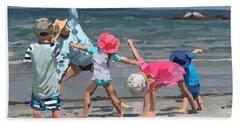 Kid's Yoga Class On Wingaersheek Beach Bath Towel