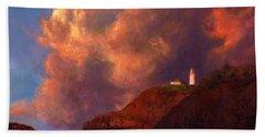 Kilauea Lighthouse - Hawaiian Cliffs Sunset Seascape And Clouds Bath Towel