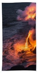 Kilauea Volcano Lava Flow Sea Entry 6 - The Big Island Hawaii Bath Towel by Brian Harig