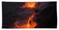 Kilauea Volcano Lava Flow Sea Entry - The Big Island Hawaii Hand Towel