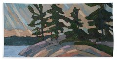 Killbear Pines And Morning Crepuscular Rays Hand Towel