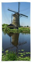 Kinderdijk Windmill Reflection Bath Towel