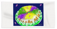 Hand Towel featuring the digital art King Cake by Jean Pacheco Ravinski