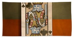 King Of Clubs In Wood Hand Towel