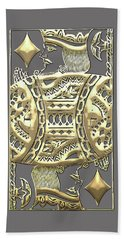 King Of Diamonds In Gold On Black  Hand Towel
