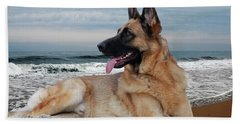 King Of The Beach - German Shepherd Dog Hand Towel