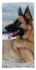 King Of The Beach - German Shepherd Dog Hand Towel
