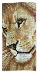 Hand Towel featuring the drawing King Of The Jungle by Heidi Kriel