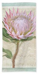 Hand Towel featuring the painting King Protea Blossom - Vintage Style Botanical Floral 1 by Audrey Jeanne Roberts