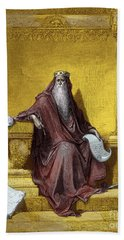 King Solomon Engraving By Gustave Dore Hand Towel