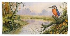Kingfisher  Autumn River Scene Hand Towel