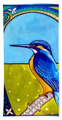 Hand Towel featuring the painting Kingfisher by Dora Hathazi Mendes
