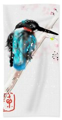 Kingfisher In Late Spring Snow Hand Towel