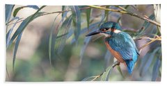 Kingfisher In Willow Bath Towel