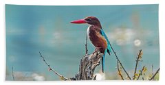Kingfisher On A Stump Hand Towel by Pravine Chester