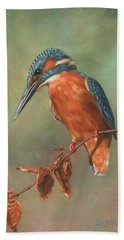 Kingfisher Perched Hand Towel