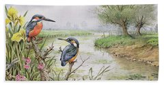Kingfishers On The Riverbank Hand Towel