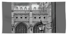 Hand Towel featuring the photograph Kings College Chapel Cambridge Exterior Detail by Gill Billington