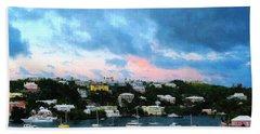 Hand Towel featuring the photograph King's Wharf Bermuda Harbor Sunrise by Susan Savad