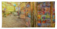 Kiosk - Prague Street Scene Bath Towel