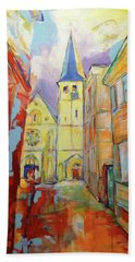 Bath Towel featuring the painting Kirche Und Altstadt Mettmann by Koro Arandia