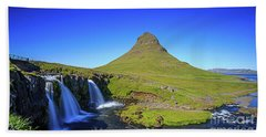 Bath Towel featuring the photograph Kirkjufell Iceland by Edward Fielding